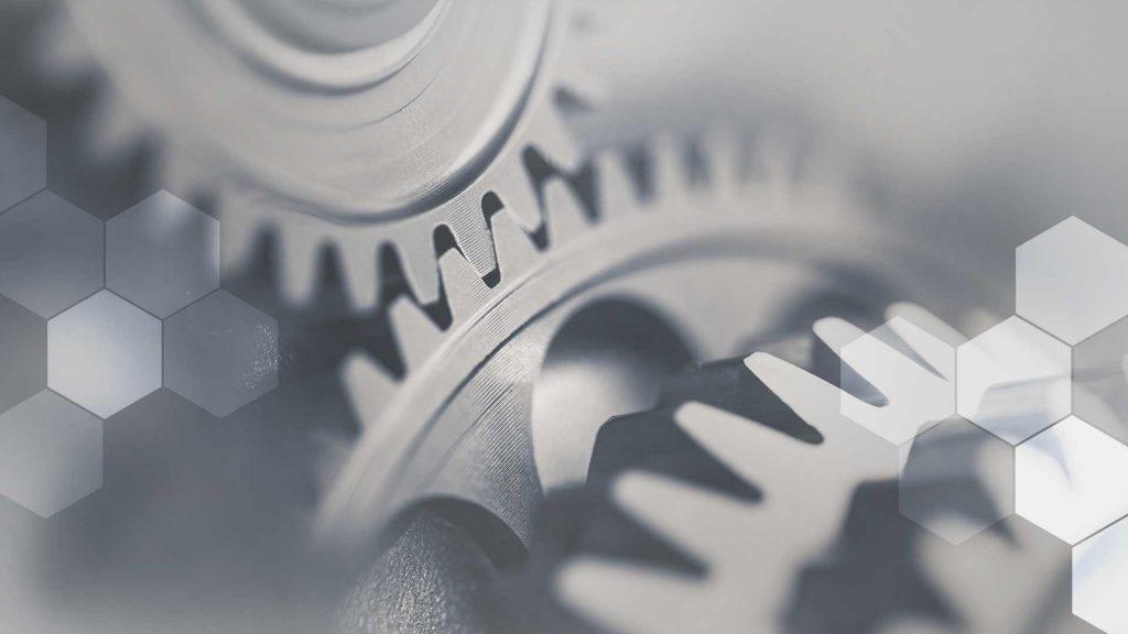 A set of interlocking gears representing CRM integration.